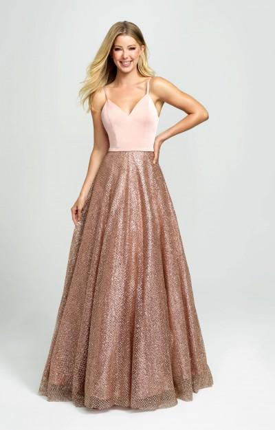 V-Neck Long A-Line Glitter Prom Dress - PromGirl