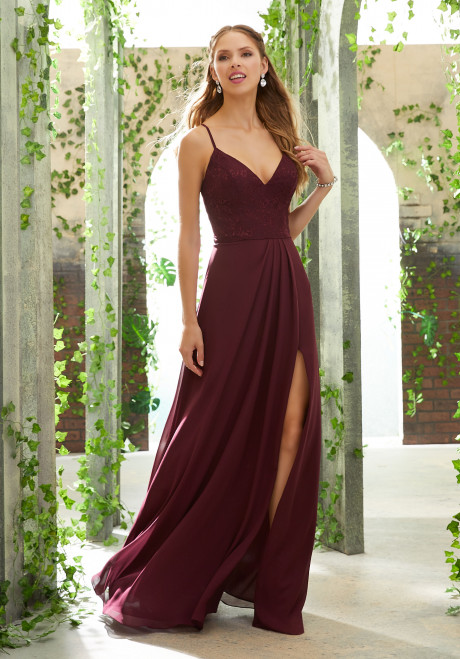 Chiffon Bridesmaid Dress with Embroidered Detail on